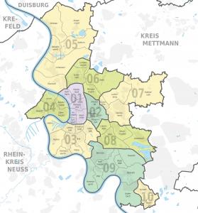 Stadtbezirke und Stadtteile von Düsseldorf. Im Local Stack bzw. Map Pack erscheinen vorwiegend Einträge in den Bezirken 01, 02 und 03.