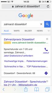 """Google Suchergebnisse für """"Zahnarzt Düsseldorf"""", erstes Bild. Der Bildschirm wird von der ersten Anzeige eingenommen."""