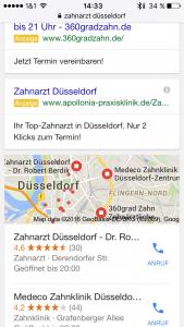 """Google Suchergebnisse für """"Zahnarzt Düsseldorf"""", zweites Bild. Der Bildschirm ist dominiert vom Local Stack."""