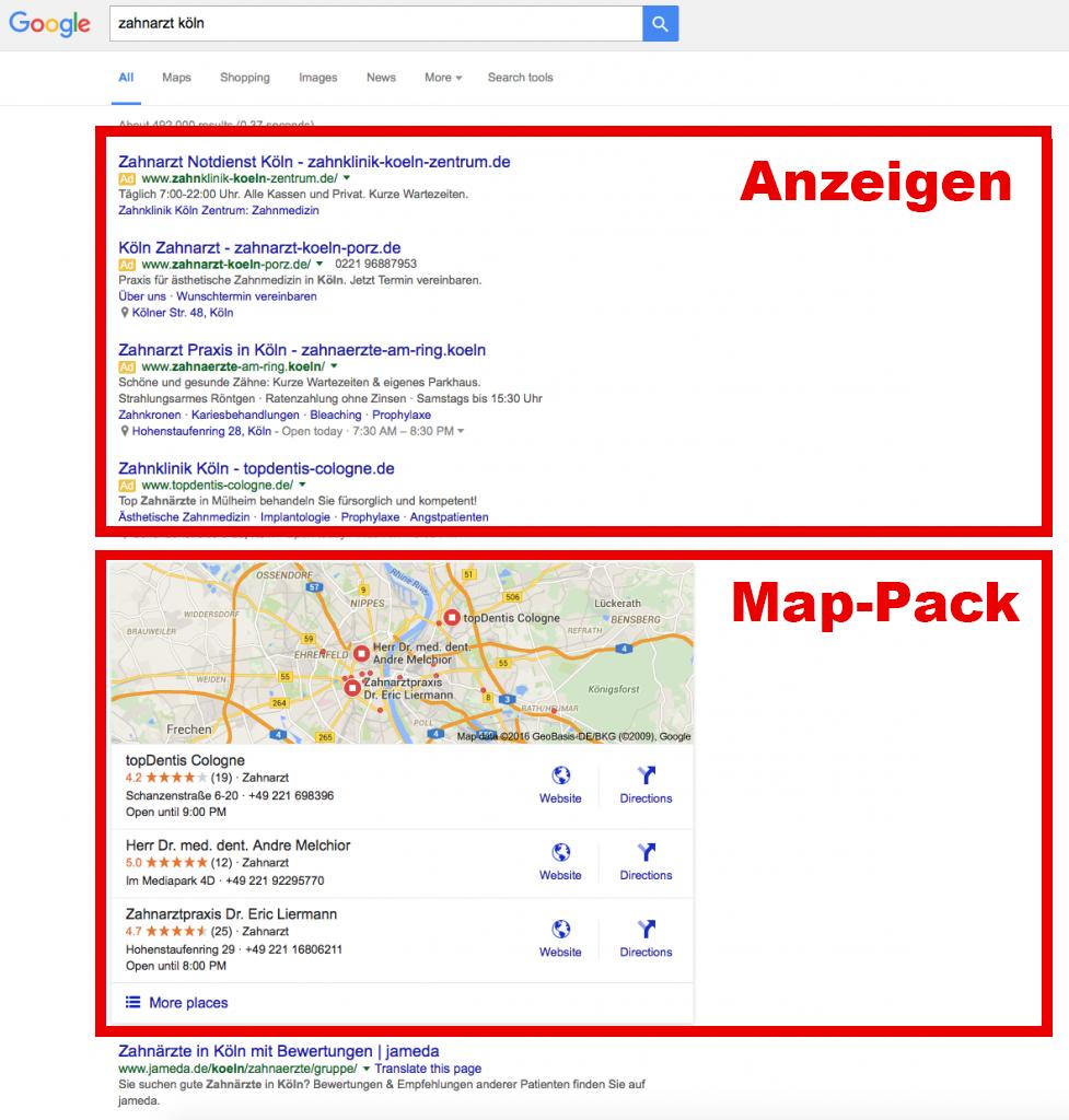 """Google Suchergebnisse für """"Zahnarzt Köln"""". Suchstandort: TrafficManufaktur in Düsseldorf-Benrath. Ads und Local Stack dominieren die erste Seite."""