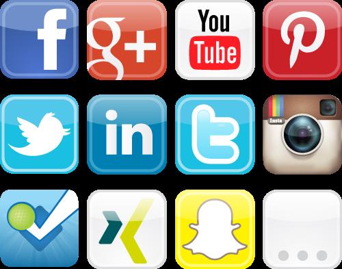 Logos diverser sozialer Netzwerke