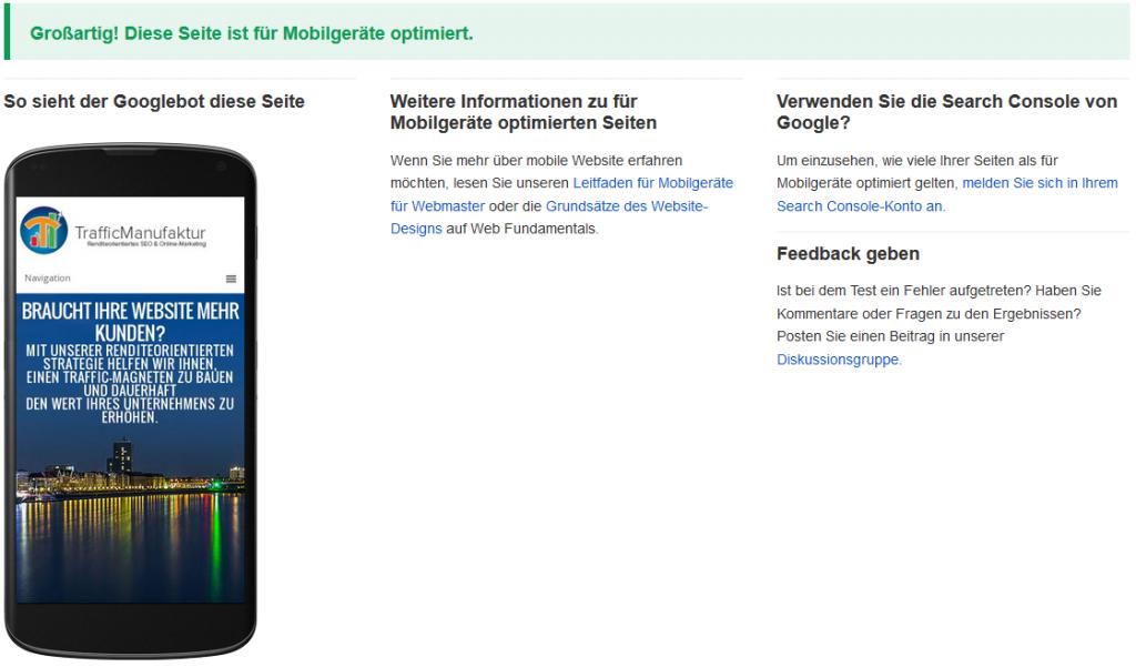 Screenshot der Website der TrafficManufaktur Düsseldorf auf einem Mobilgerät. Dank Responsive Webdesign ist die Website für Mobilgeräte optimiert.